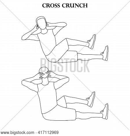 Cross Crunch Exercise Strength Workout Vector Illustration Outline