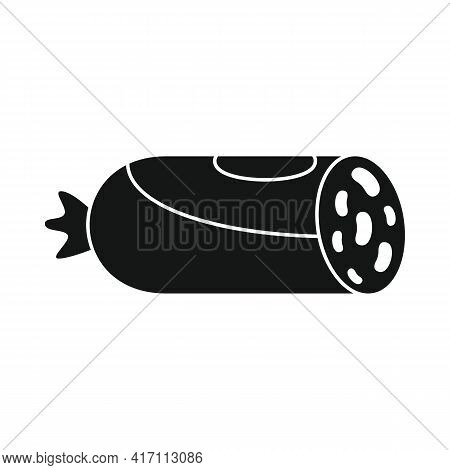 Vector Meat Sausage Black Simple Icon Isolated On White