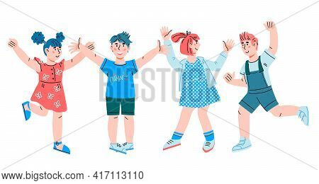Happy Cheerful Children Jumping Happily And Raising Hands, Cartoon Vector Illustration Isolated On W