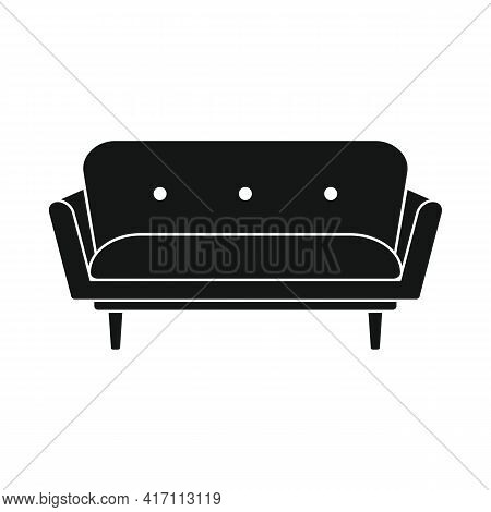 Vector Comfortable Sofa Black Simple Icon Isolated