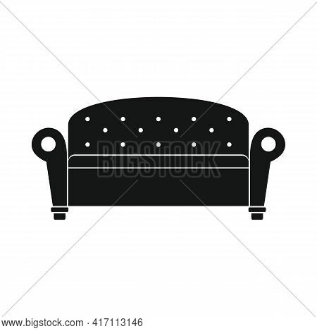 Vector Comfort Sofa Black Simple Icon Isolated On White