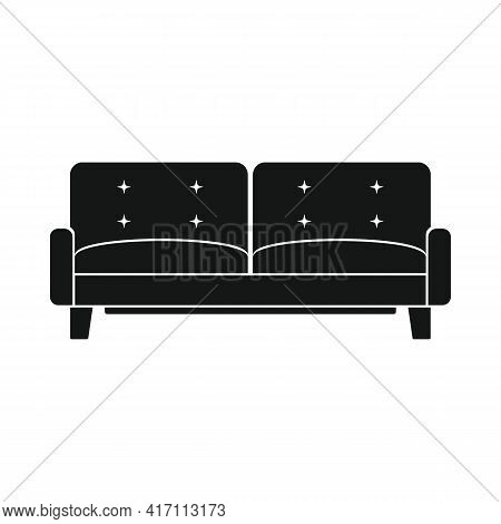 Vector Usable Sofa Black Simple Icon Isolated On White
