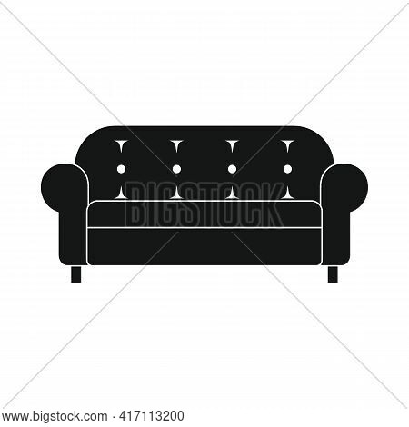 Vector Sofa Black Simple Icon Isolated On White Background
