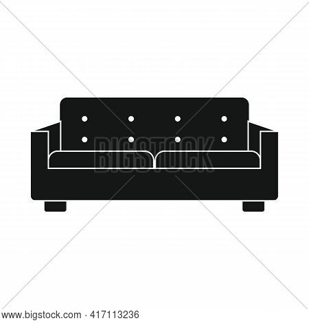 Vector Modern Sofa Black Simple Icon Isolated