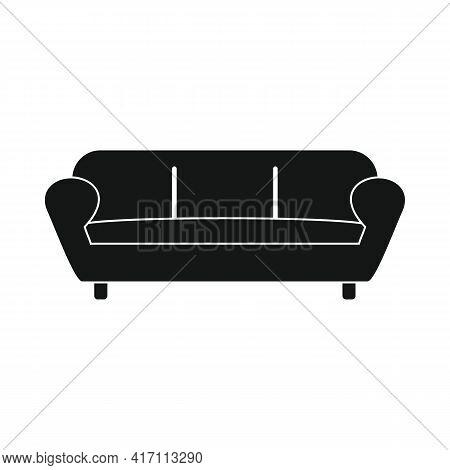 Vector Sleeping Sofa Black Simple Icon Isolated