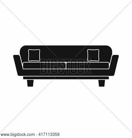Vector Lobby Sofa Black Simple Icon Isolated