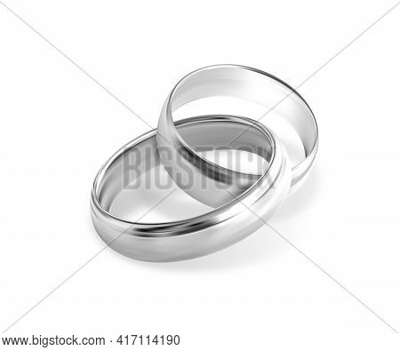 Two Interlocking Silver Or Platinum Wedding Rings On White Background. Quality Realistic Vector, 3d