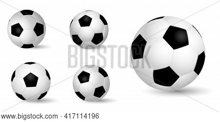 Set Of Realistic Leather Soccer Ball Or Soccer Ball Close Up Realistic On White Background Or Realis