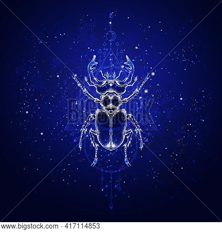 Vector Illustration With Hand Drawn Stag Beetle And Sacred Geometric Symbol Against The Starry Sky.