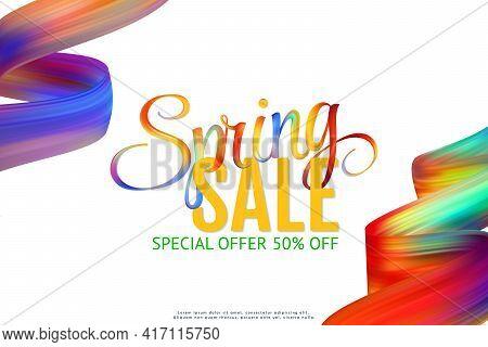 Sale Banner Template Design. Spring Fashion Template. Vector Elegant Layout. Bright Promo Illustrati