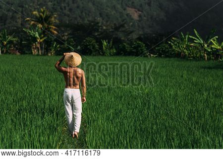 A Sporty Man Walks On Rice Terraces In Bali, Indonesia. A Sporty Man In White Trousers And A Conical