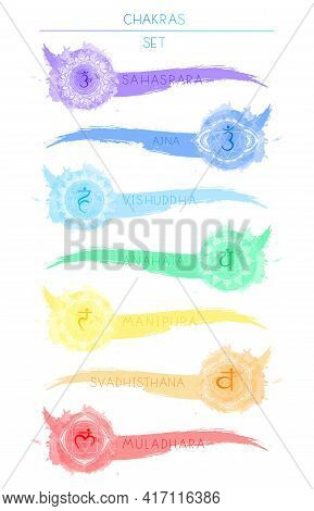 Seven Chakra Symbols And Watercolor Blots. Color Image On A White Background.