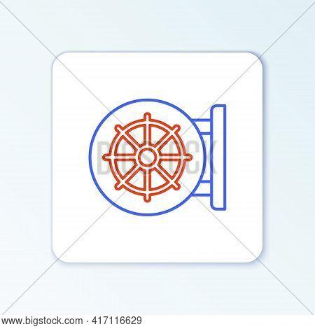 Line Dharma Wheel Icon Isolated On White Background. Buddhism Religion Sign. Dharmachakra Symbol. Co