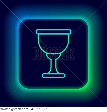 Glowing Neon Line Holy Grail Or Chalice Icon Isolated On Black Background. Christian Chalice. Christ
