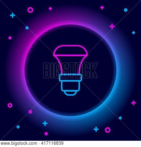 Glowing Neon Line Led Light Bulb Icon Isolated On Black Background. Economical Led Illuminated Light