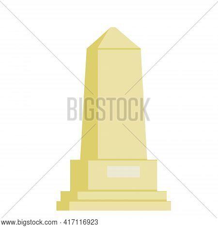 Obelisk. White Stone Monument. High Pillar Memorial And Column. Flat Illustration Isolated On White.