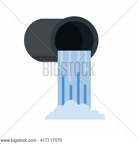 Drainage System. Water Supply And Sewerage. Industrial Drain. Flat Cartoon Illustration Isolated On