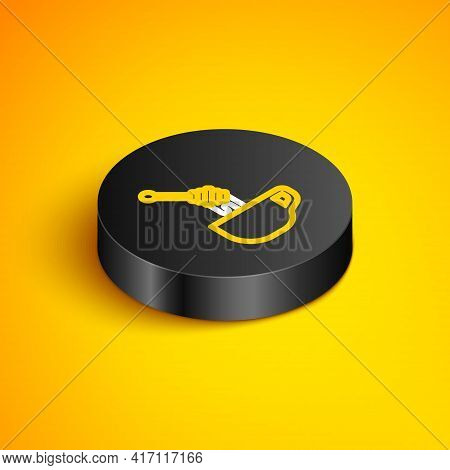 Isometric Line Honey Dipper Stick With Dripping Honey Icon Isolated On Yellow Background. Honey Ladl