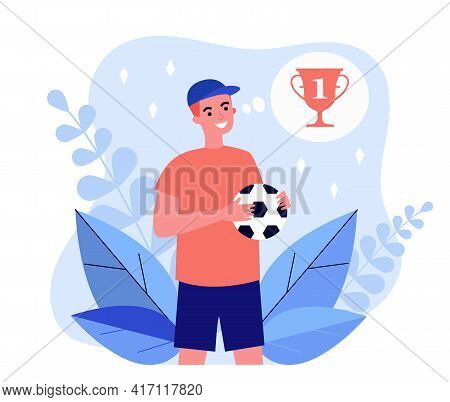 Happy Cartoon Young Footballer Thinking About Prize. Flat Vector Illustration. Sportsman Character H
