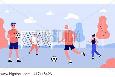 People Of Different Ages Playing Football With Coach. Flat Vector Illustration. Cartoon Men And Woma