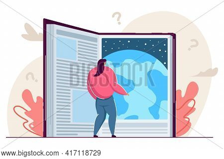 Tiny Woman Reading Astonishing Giant Science Fiction Book. Flat Vector Illustration. Opened Book Sym
