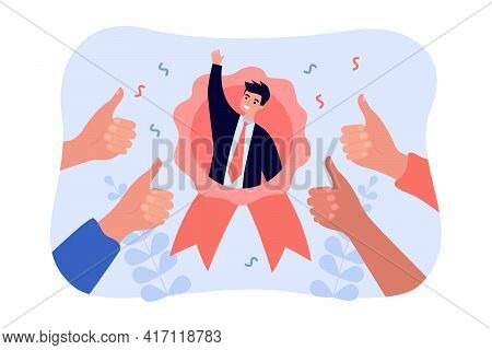 Best Employee With Great Reputation. Outstanding Popular Worker Flat Vector Illustration. Business S