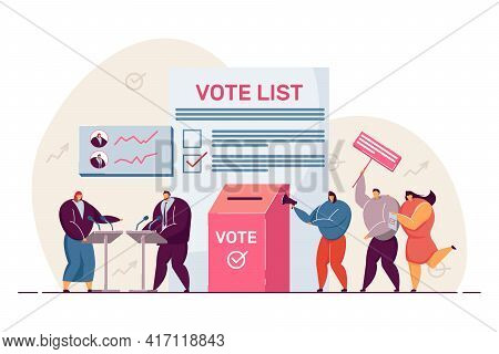 Political Debates And Voting, Balloting Citizens. Flat Vector Illustration. Holding Election Or Refe