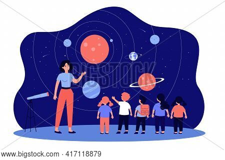 Teacher With Kids In Planetarium. Woman Telling Children About Planets, Stars, And Solar System Flat