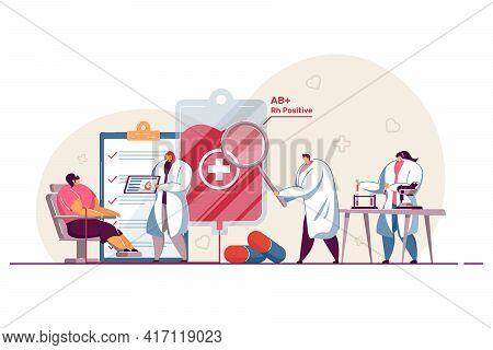 Tiny Cartoon Doctors Examining Patient Before Blood Donation. Flat Vector Illustration. Medical Work