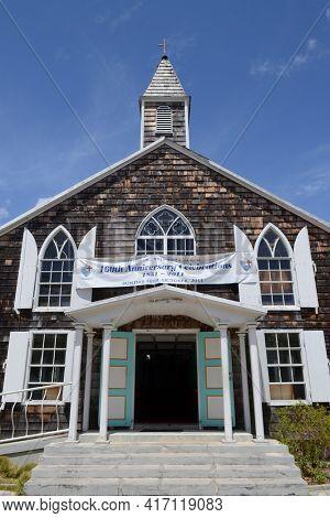 PHILLIPSBURG, SAINT MAARTEN, MARCH 20, 2012: Front of Methodist Church, Philipsburg, Saint Maarten, with banner celebrating 160 year anniversary