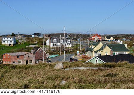 PEGGYS COVE, NOVA SCOTIA - OCTOBER 10, 2011: View of the quaint maritime town in the province of Nova Scotia.