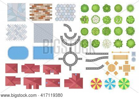 Top View Of City Or Park Elements Vector Illustrations Set. Collection Of Trees, Roads, Buildings, F