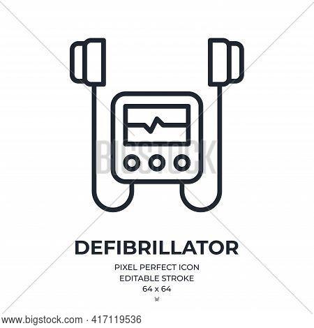 Defibrillator Editable Stroke Outline Icon Isolated On White Background Flat Vector Illustration. Pi
