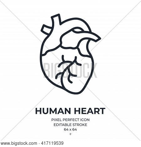 Human Heart Editable Stroke Outline Icon Isolated On White Background Flat Vector Illustration. Pixe