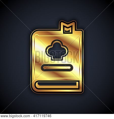 Gold Cookbook Icon Isolated On Black Background. Cooking Book Icon. Recipe Book. Fork And Knife Icon