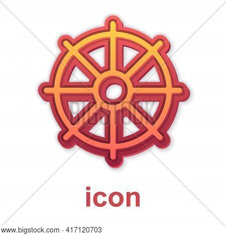 Gold Dharma Wheel Icon Isolated On White Background. Buddhism Religion Sign. Dharmachakra Symbol. Ve