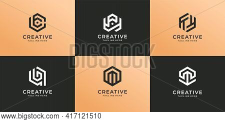 Set Of Modern Hexagon Branding Logo Design Collection. Logo Can Be Used For Icon, Brand, Identity, M