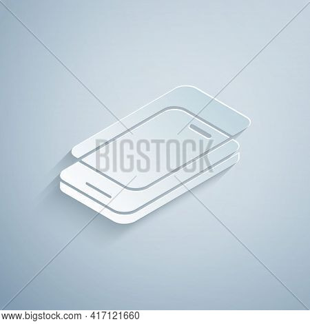 Paper Cut Glass Screen Protector For Smartphone Icon Isolated On Grey Background. Protective Film Fo