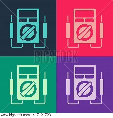 Pop Art Ampere Meter, Multimeter, Voltmeter Icon Isolated On Color Background. Instruments For Measu