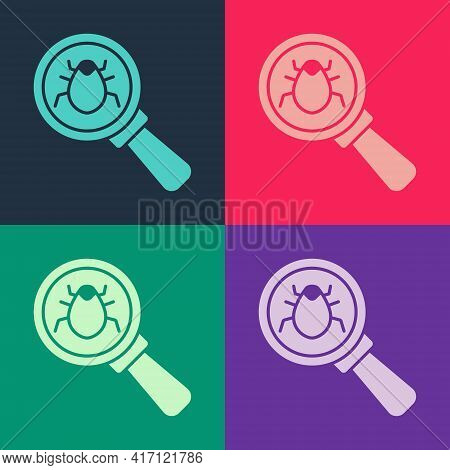 Pop Art System Bug Concept Icon Isolated On Color Background. Code Bug Concept. Bug In The System. B