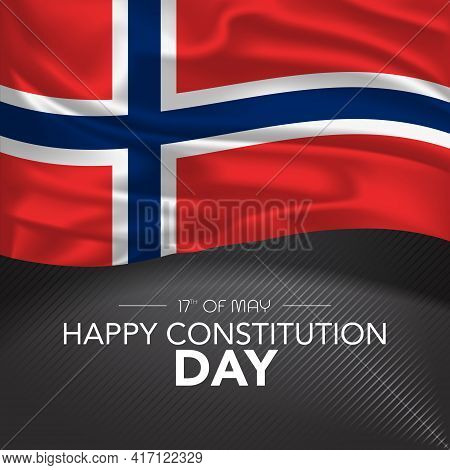 Norway Happy Constitution Day Greeting Card, Banner, Vector Illustration