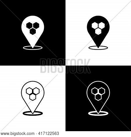 Set Honeycomb Bee Location Map Pin Pointer Icon Isolated On Black And White Background. Farm Animal
