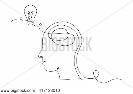Lightbulb In Head In One Single Line Drawing For Logo, Emblem, Web Banner, Presentation. Simple Line