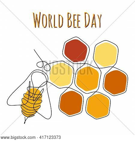World Bee Day Web Banner In One Line Drawing Style. Bumblebee On Top Of A Honeycombs Background. Edi