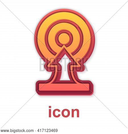 Gold Target With Arrow Icon Isolated On White Background. Dart Board Sign. Archery Board Icon. Dartb