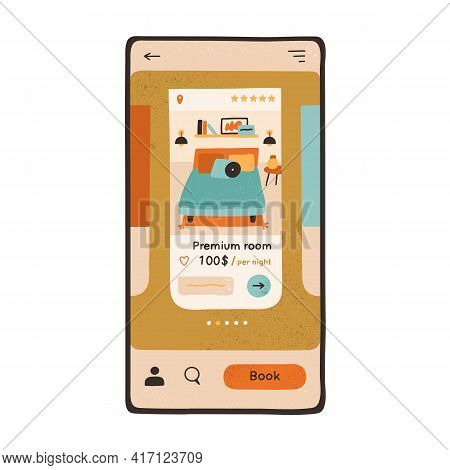 Cell Phone Screen With App Interface For Hotel Book. Online Booking Of Accommodation Concept. Mobile