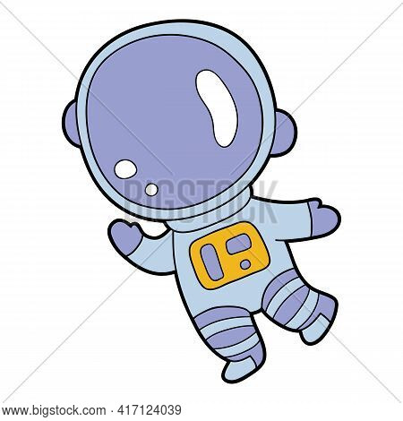 Vector Educational Illustration Of Cute Cartoon Astronaut For Children And Scrap Book