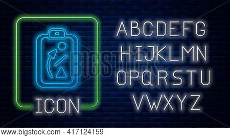 Glowing Neon Planning Strategy Concept Icon Isolated On Brick Wall Background. Baseball Cup Formatio