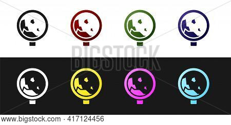 Set Road Sign Warning Avalanche Rockfall Landslides Icon Isolated On Black And White Background. Tra