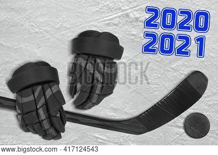 Ice Hockey Accessories Arena Ice With Blue Stripe. Concept, Hockey, Wallpaper